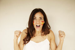 Happy woman with Spain flag Royalty Free Stock Photos