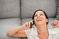 Happy woman speaking mobile phone Royalty Free Stock Photo