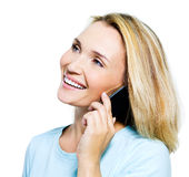 Happy woman speaking by phone Royalty Free Stock Photo