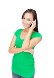 Happy woman speaks on the phone Stock Image