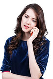 Happy woman speaks on the phone Royalty Free Stock Photos
