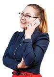Happy woman speaks on the phone Stock Photos