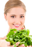 Happy woman with spinach Royalty Free Stock Photo