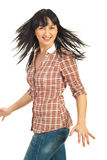 Happy woman spinning her hair Royalty Free Stock Images