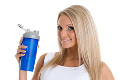 Happy woman with sports nutrition. Stock Photos