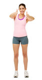 Happy Woman In Sportswear Gesturing Thumbs Up Stock Images