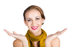 Happy woman with spread hands Royalty Free Stock Images