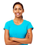 Happy Woman Standing Arms Crossed Royalty Free Stock Images