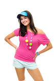 Happy woman standing in pink and blue smile Stock Photo