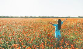 Happy woman standing with raised arms in flower meadow. stock photography