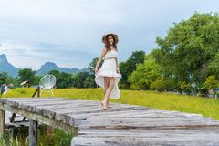 Happy woman standing on wooden bridge with yellow cosmos flower field stock image