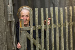 Happy  woman stands behind a wooden fence in the village. Royalty Free Stock Photos