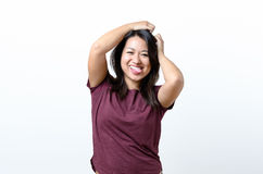 Happy woman sticking out tongue Royalty Free Stock Photo
