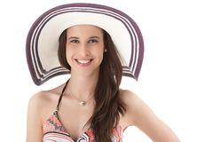 Happy woman in straw hat Stock Images