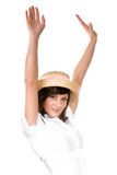 Happy woman in straw hat. Happy young woman in straw hat with arms in air, isolated on white background Stock Images