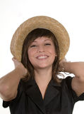 Happy woman in straw hat Royalty Free Stock Photo