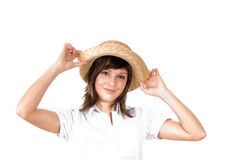 Happy woman with straw hat Royalty Free Stock Photography