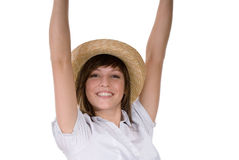 Happy woman in straw hat Royalty Free Stock Photos