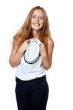 Happy woman with straw hat Stock Photos
