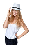 Happy woman with straw hat Stock Image