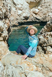 Happy woman in a straw hat Royalty Free Stock Image