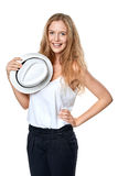 Happy woman with straw hat Royalty Free Stock Image