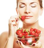 Happy woman with strawberry Royalty Free Stock Photography