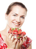 happy woman with strawberry Stock Photos