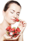 happy woman with strawberry Stock Photography