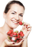 happy woman with strawberry Royalty Free Stock Image
