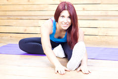 Happy woman streching. Fitness and sport. Yoga concept. Woman streching. Fitness and sport. Yoga concept Royalty Free Stock Photos