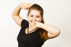 Happy woman stretching after work or sleep Stock Photo