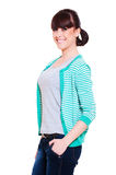 Happy woman in striped jacket Stock Images