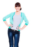 Happy woman in striped jacket Royalty Free Stock Photos