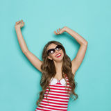 Happy Woman In Striped Shirt Royalty Free Stock Images