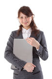 Happy woman student holding a laptop. Isolated on white stock image