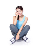 Happy woman student sit Royalty Free Stock Photo