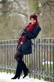 Happy Woman in Stylish Winter Clothing Stock Photo
