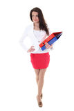 Happy woman in suit with folders Stock Photos