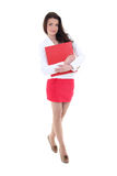 Happy woman in suit with red folder Stock Photography