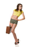 Happy woman with suitcase Royalty Free Stock Photo