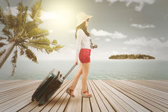 Happy woman with suitcase at pier Stock Photos