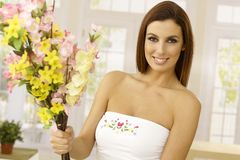 Happy woman with summer bouquet Stock Photos