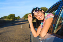 Happy woman on summer car travel Stock Photography