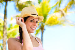 Happy woman on summer caribbean travel Royalty Free Stock Photo