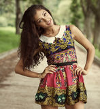Happy  woman in summer dress Royalty Free Stock Photos