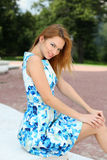 Happy  woman in summer dress Stock Photos