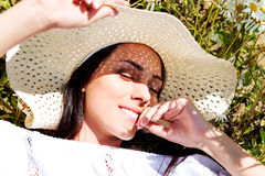 Happy woman in summer field. Young girl relax outdoors. Freedom concept. Happy woman in summer field. Young girl relax outdoors. Freedom concept Stock Photos