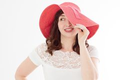 Happy woman in summer hat isolated on white background. Sun protection skin care and vacation holidays concept. Middle age female. With white healthy teeth and stock photos