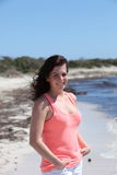 Happy Woman in Summer Outfit at the Beach Royalty Free Stock Image
